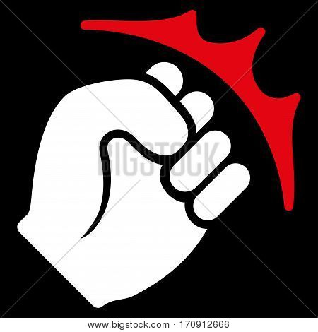 Fist Strike vector icon. Flat bicolor red and white symbol. Pictogram is isolated on a black background. Designed for web and software interfaces.