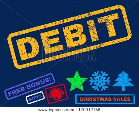 Debit text rubber seal stamp watermark with additional bonus christmas symbols. Caption inside rectangular shape with grunge design and dirty texture.