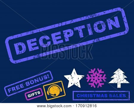 Deception text rubber seal stamp watermark with additional bonus new year symbols. Caption inside rectangular shape with grunge design and unclean texture.