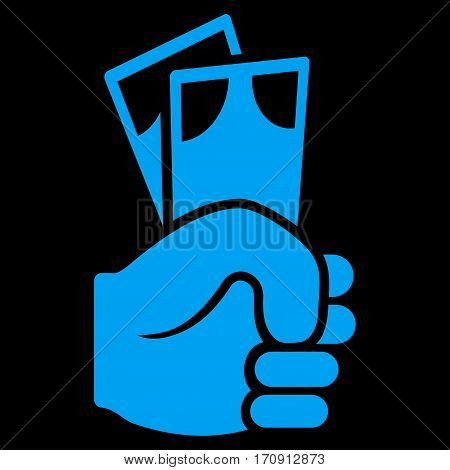 Banknotes Salary Hand vector icon. Flat blue symbol. Pictogram is isolated on a black background. Designed for web and software interfaces.
