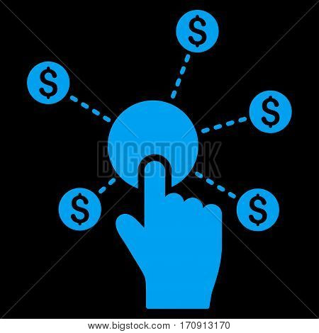 Click Financial Network vector icon. Flat blue symbol. Pictogram is isolated on a black background. Designed for web and software interfaces.