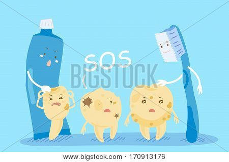 cute cartoon tooth decay with brush and paste