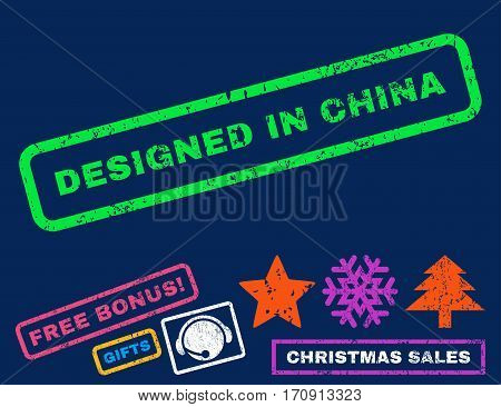 Designed In China text rubber seal stamp watermark with additional bonus new year symbols. Tag inside rectangular banner with grunge design and dirty texture.