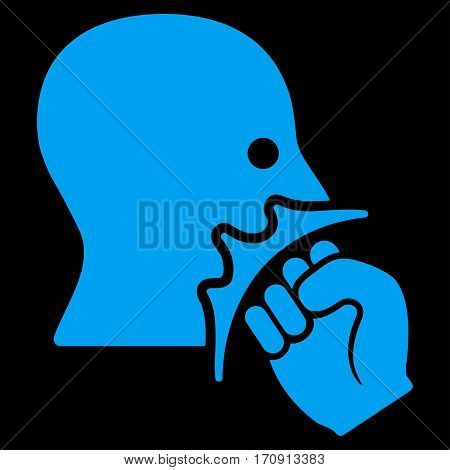 Face Violence Strike vector icon. Flat blue symbol. Pictogram is isolated on a black background. Designed for web and software interfaces.