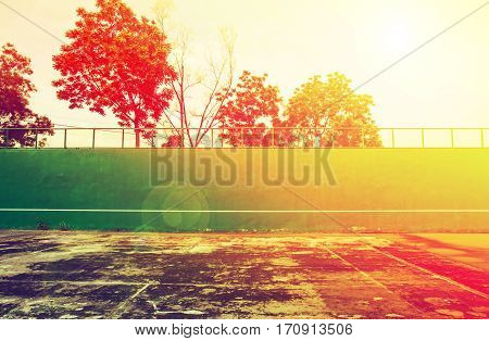 Old green Tennis Court surface ,tennis knock board