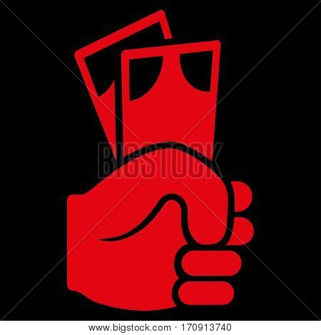 Banknotes Salary Hand vector icon. Flat red symbol. Pictogram is isolated on a black background. Designed for web and software interfaces.