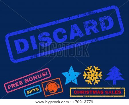 Discard text rubber seal stamp watermark with additional bonus christmas symbols. Tag inside rectangular shape with grunge design and dust texture.