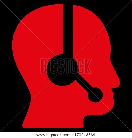 Call Center Operator vector icon. Flat red symbol. Pictogram is isolated on a black background. Designed for web and software interfaces.