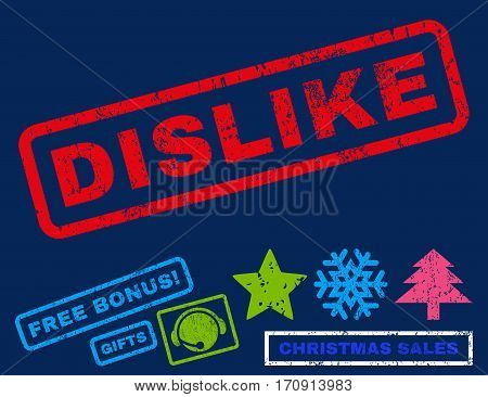 Dislike text rubber seal stamp watermark with additional bonus new year symbols. Caption inside rectangular banner with grunge design and scratched texture.