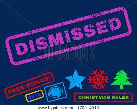 Dismissed text rubber seal stamp watermark with bonus christmas symbols. Caption inside rectangular shape with grunge design and scratched texture.