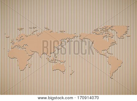 World map on corrugated cardboard texture Vector