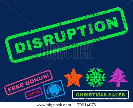 Disruption text rubber seal stamp watermark with bonus new year symbols. Tag inside rectangular banner with grunge design and scratched texture.