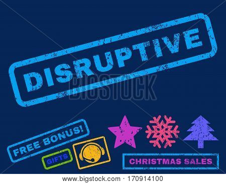 Disruptive text rubber seal stamp watermark with additional bonus christmas symbols. Tag inside rectangular shape with grunge design and dirty texture.