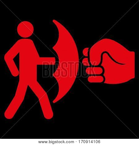 Crime Protection vector icon. Flat red symbol. Pictogram is isolated on a black background. Designed for web and software interfaces.