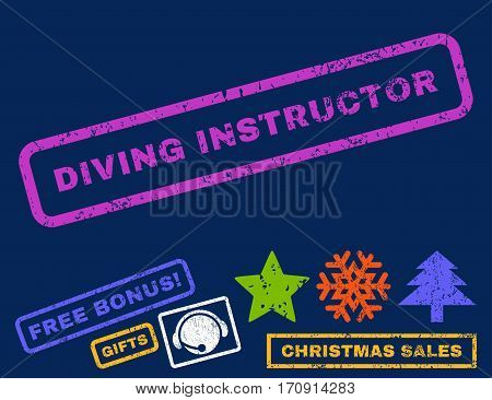 Diving Instructor text rubber seal stamp watermark with additional bonus christmas symbols. Tag inside rectangular banner with grunge design and unclean texture.