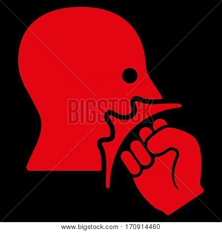 Face Violence Strike vector icon. Flat red symbol. Pictogram is isolated on a black background. Designed for web and software interfaces.