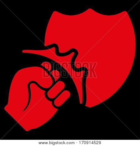 Fist Strike Shield vector icon. Flat red symbol. Pictogram is isolated on a black background. Designed for web and software interfaces.