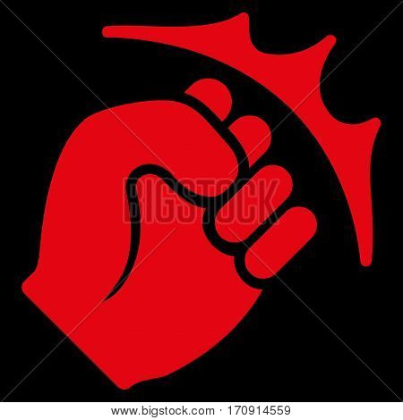 Fist Strike vector icon. Flat red symbol. Pictogram is isolated on a black background. Designed for web and software interfaces.