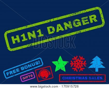 H1N1 Danger text rubber seal stamp watermark with additional bonus christmas symbols. Tag inside rectangular banner with grunge design and dirty texture.