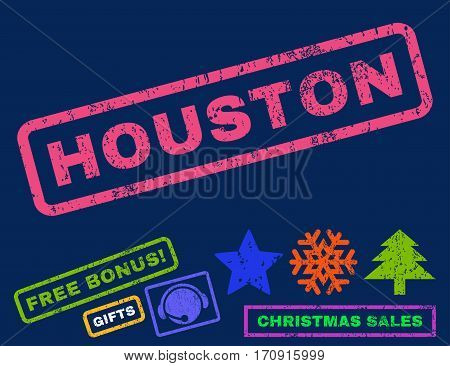 Houston text rubber seal stamp watermark with bonus christmas symbols. Tag inside rectangular shape with grunge design and dust texture.