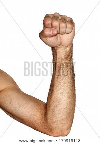 Male fist on a white background afternoon