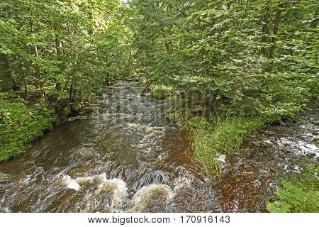 The Little Carp River Running Through the forest of Porcupine Mountains State Park in Michigan