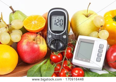 Glucometer, Blood Pressure Monitor And Fruits With Vegetables, Healthy Lifestyle