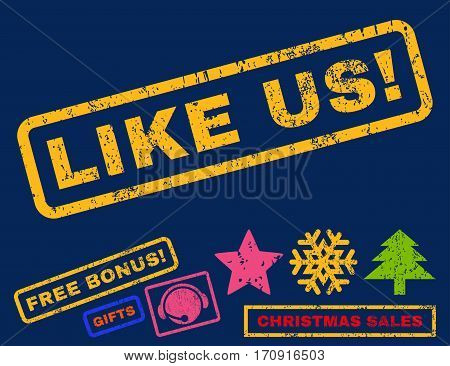 Like Us text rubber seal stamp watermark with additional bonus christmas symbols. Tag inside rectangular banner with grunge design and scratched texture.