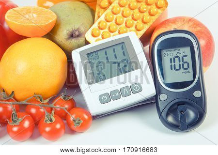 Vintage Photo, Glucometer, Blood Pressure Monitor, Fruits With Vegetables And Medical Pills, Healthy