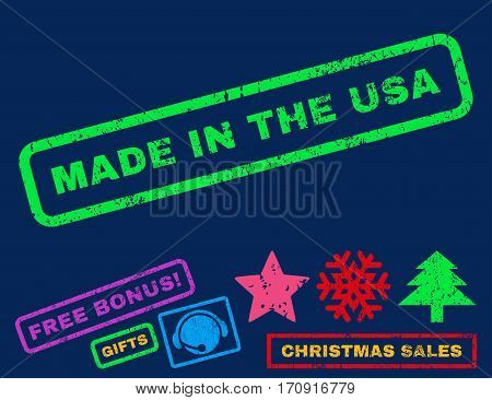 Made In The USA text rubber seal stamp watermark with bonus new year symbols. Tag inside rectangular banner with grunge design and scratched texture.