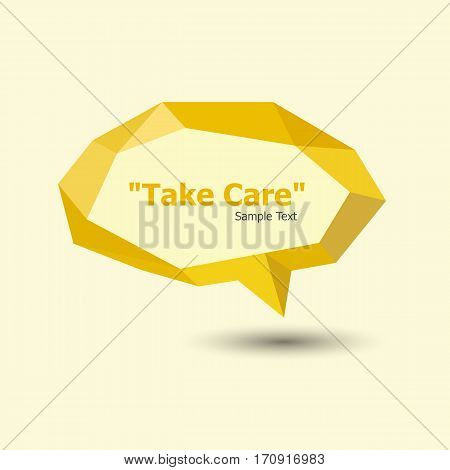 Yellow polygonal geometric speech bubble, stock vector