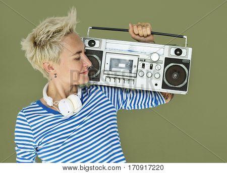 Caucasian Blonde Woman Headphones Jukebox