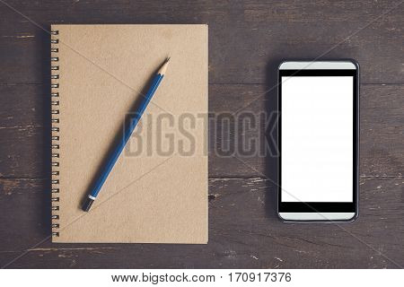 Blank Notebook And Phone Blank Screen For Advertising On Wood Table Background With Space.