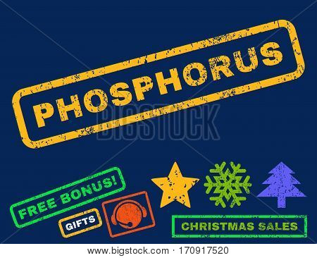 Phosphorus text rubber seal stamp watermark with bonus new year symbols. Caption inside rectangular shape with grunge design and dirty texture.