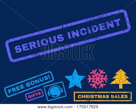 Serious Incident text rubber seal stamp watermark with bonus christmas symbols. Tag inside rectangular shape with grunge design and dirty texture.