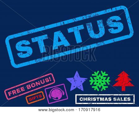 Status text rubber seal stamp watermark with bonus christmas symbols. Tag inside rectangular shape with grunge design and scratched texture.