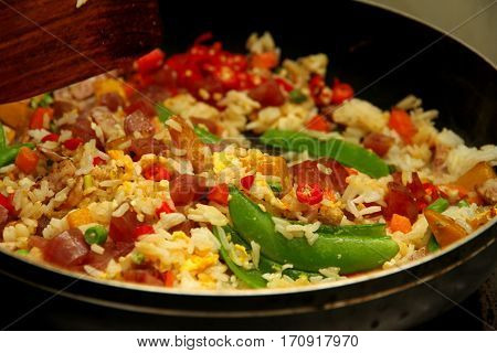 Cooking , Chinese Sausage Fried Rice With Mixed Vegetable.