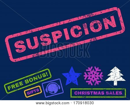 Suspicion text rubber seal stamp watermark with additional bonus christmas symbols. Caption inside rectangular shape with grunge design and unclean texture.