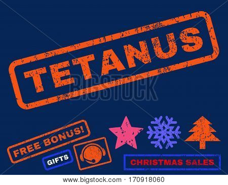 Tetanus text rubber seal stamp watermark with bonus new year symbols. Tag inside rectangular shape with grunge design and unclean texture.
