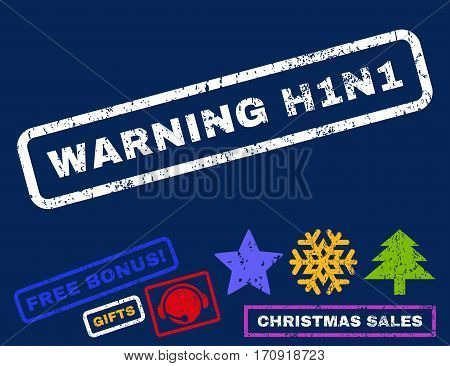 Warning H1N1 text rubber seal stamp watermark with bonus new year symbols. Tag inside rectangular shape with grunge design and dirty texture.