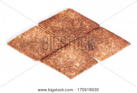 Rhombus shape cookies isolated on white background