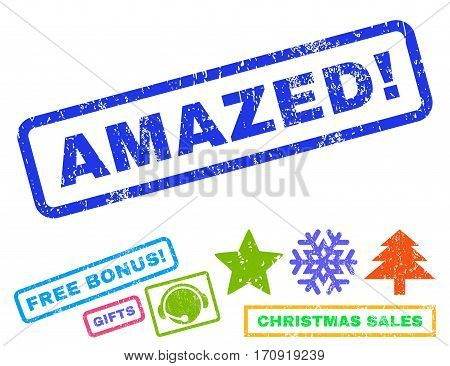 Amazed text rubber seal stamp watermark with bonus new year symbols. Tag inside rectangular shape with grunge design and dust texture.