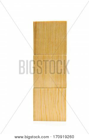 Stacked brown wooden cubes on white background