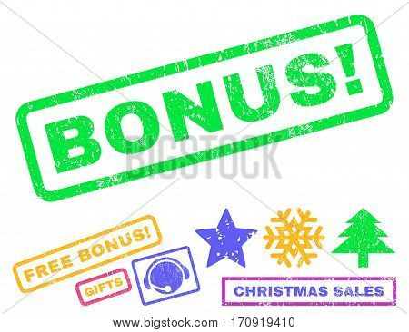 Bonus text rubber seal stamp watermark with additional bonus christmas symbols. Caption inside rectangular banner with grunge design and unclean texture.