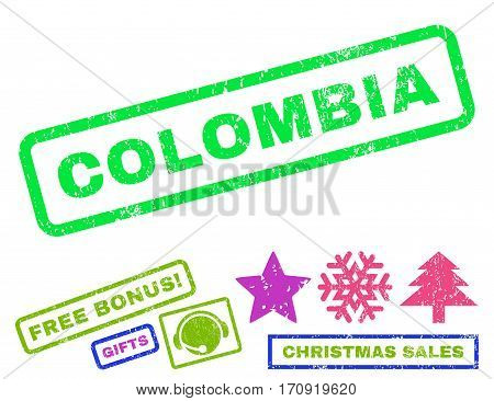 Colombia text rubber seal stamp watermark with bonus christmas symbols. Caption inside rectangular banner with grunge design and dirty texture.