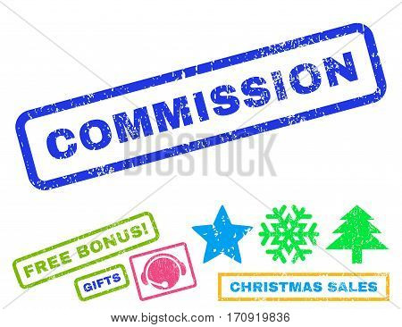 Commission text rubber seal stamp watermark with additional bonus christmas symbols. Tag inside rectangular shape with grunge design and dust texture.