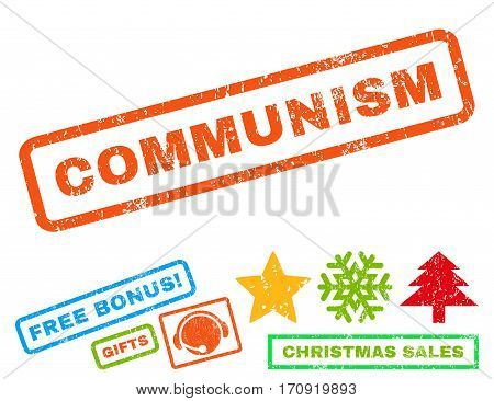 Communism text rubber seal stamp watermark with additional bonus christmas symbols. Tag inside rectangular banner with grunge design and dust texture.