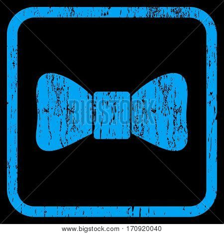 Bow Tie rubber watermark. Vector pictogram symbol inside rounded rectangle with grunge design and dust texture. Stamp seal illustration. Unclean blue ink sign on a black background.