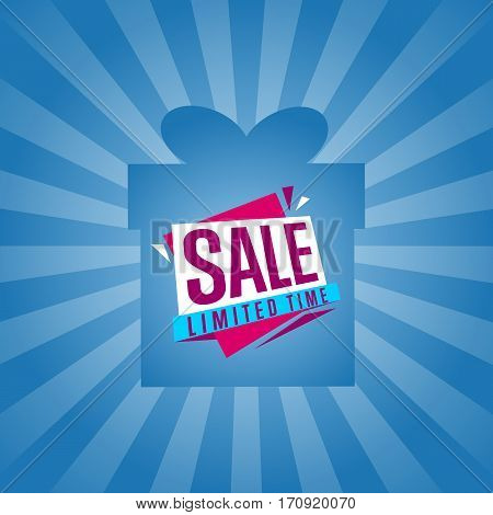 Limited time sale sticker on box isolated vector illustration. Exclusive offer tag, price discount poster, advertisement retail label, super sale ad, special shopping symbol. Modern style offer sign.
