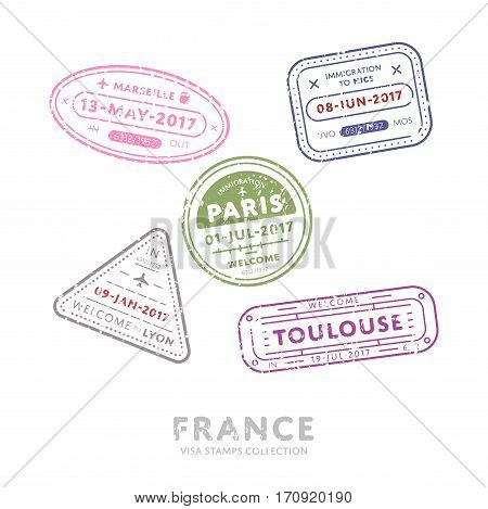 France travel visa stamps vector isolated on white background. Arrivals sign rubber stamps. Marseille, Paris, Toulouse city sign.